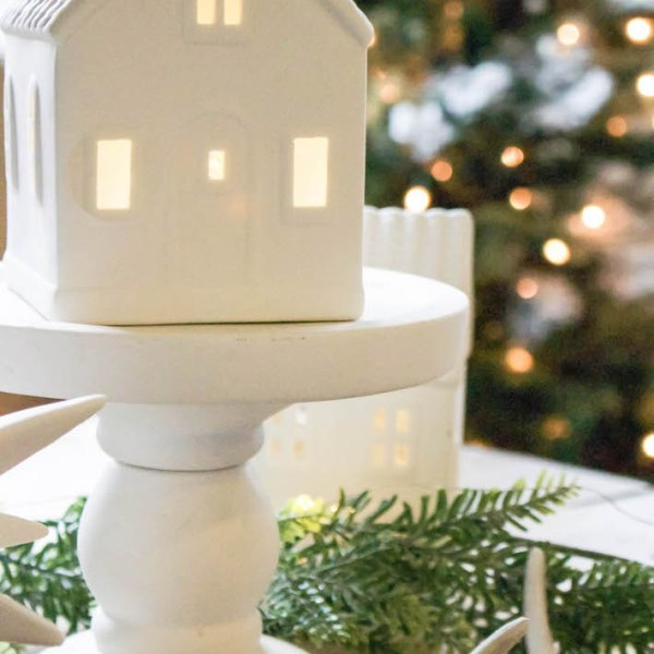 Winter Wonderland Christmas Village Tablescape   designedsimple.com