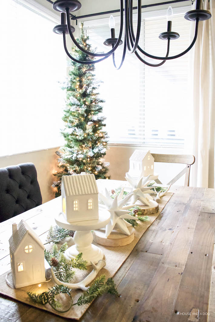 Winter Wonderland Christmas Village Tablescape | designedsimple.com