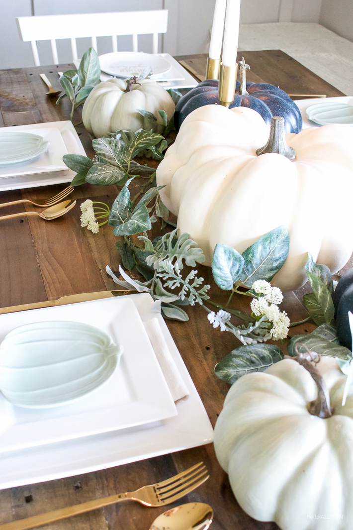 Blue + Green Pumpkin Fall Tablescape | designedsimple.com