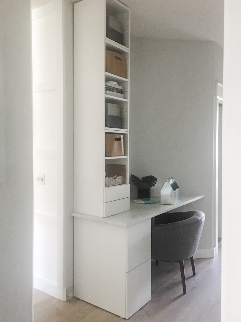 Small Home Office With Built In Ikea Cabinets Designed Simple