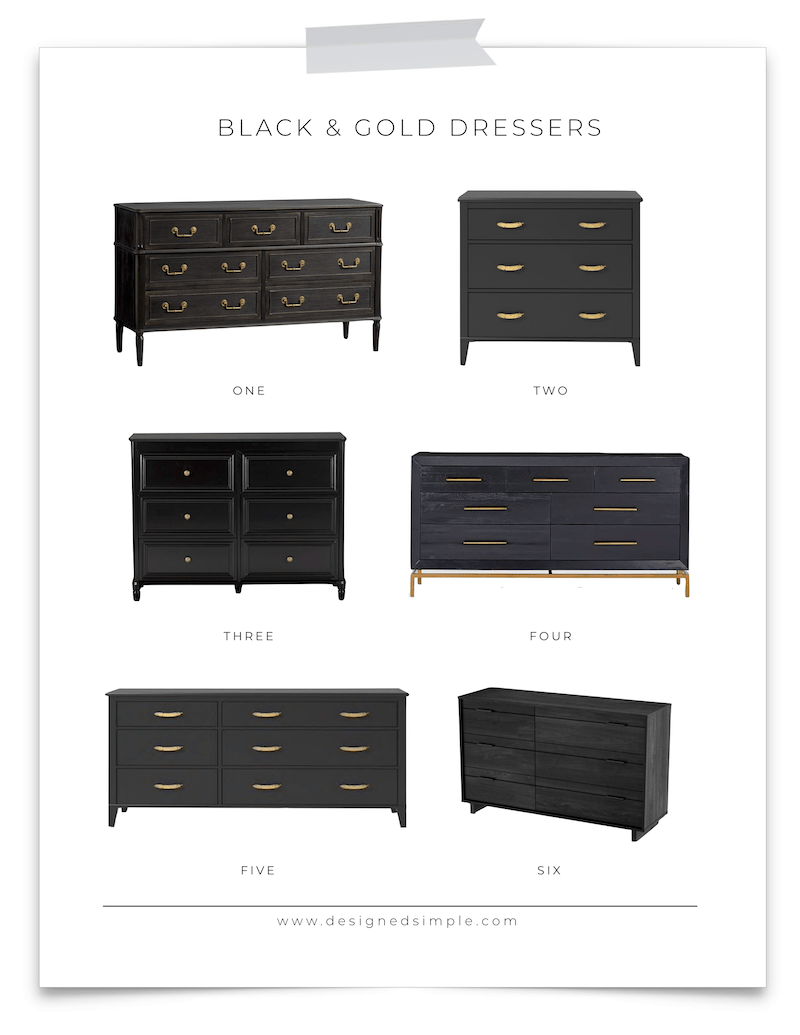 6 Black and Gold Dressers | Get the look of a great entryway console or sofa table! | Designed Simple | designedsimple.com