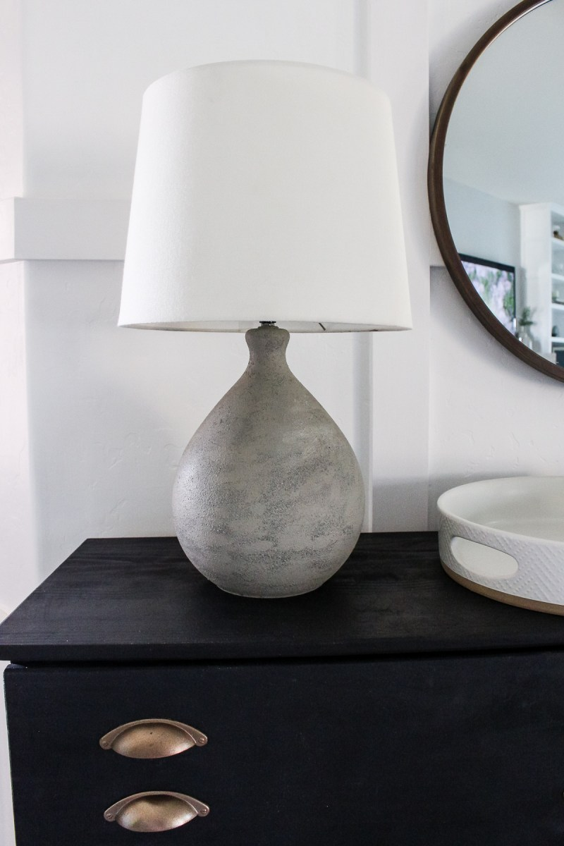 DIY Faux Cement Lamp | Get the look of an $300 lamp for the cost of a can of spray paint! | Designed Simple | designedsimple.com