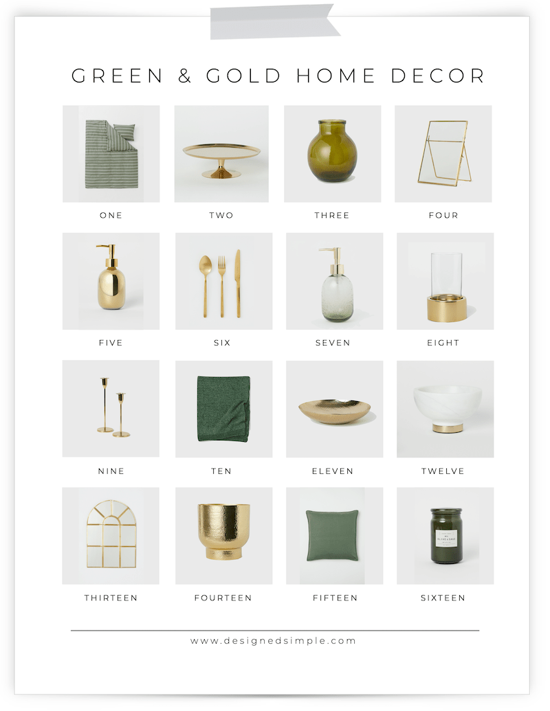 Green & Gold Home Decor | Mix trendy with classic for the perfect look in your home! | Designed Simple | designedsimple.com