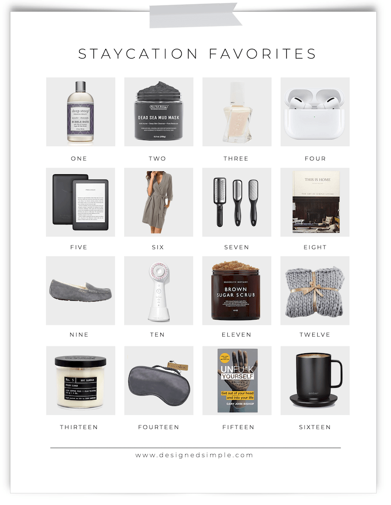 Staycation Favorites | Have an at-home spa day or curl up with a cozy blanket and good book! | Designed Simple | designedsimple.com