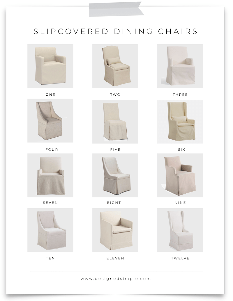 12 Slipcovered Dining Chairs | Sharing some of my favorites and an honest review of our Elena Armchairs from World Market! | Designed Simple | designedsimple.com