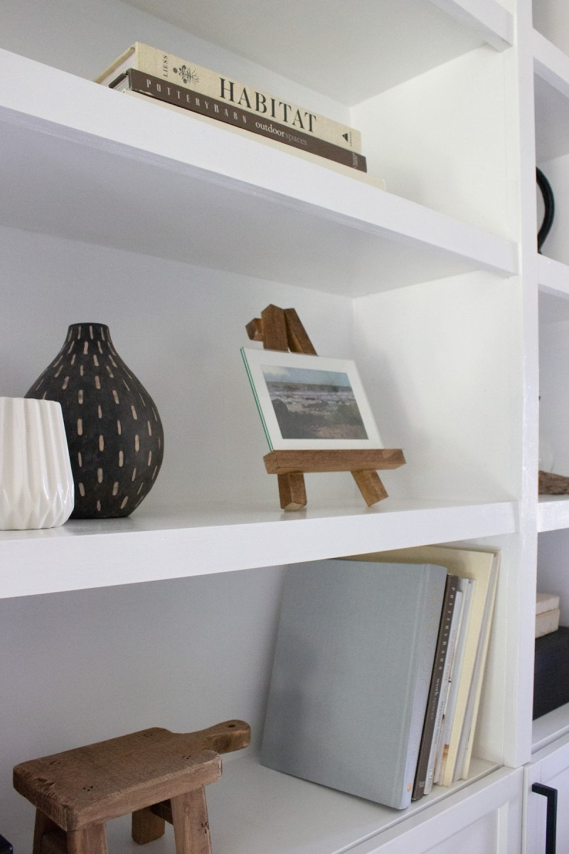 DIY Picture Frame Easel | Add something fun to your shelves with a frame easel for your photos! | Designed Simple | designedsimple.com