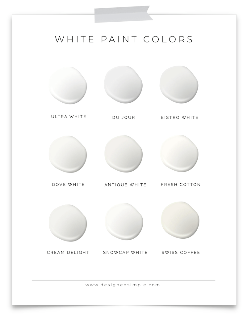 Favorite Valspar Whites | Choosing white paint colors can be hard so I'm sharing all the tried and true colors! | Designed Simple | designedsimple.com