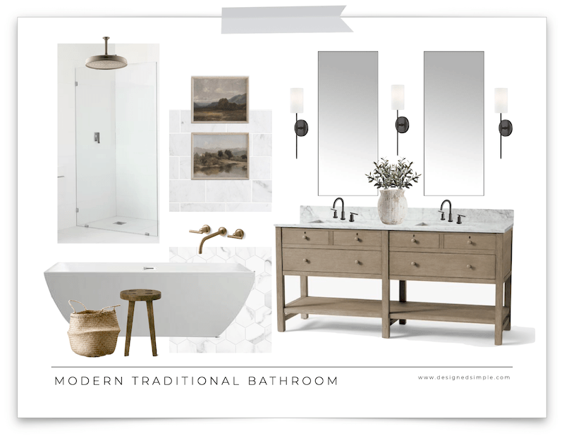 Mixed metals, wood accents, vintage art and marble tile create a a modern traditional bathroom design for this months mood board! | Designed Simple | designedsimple.com