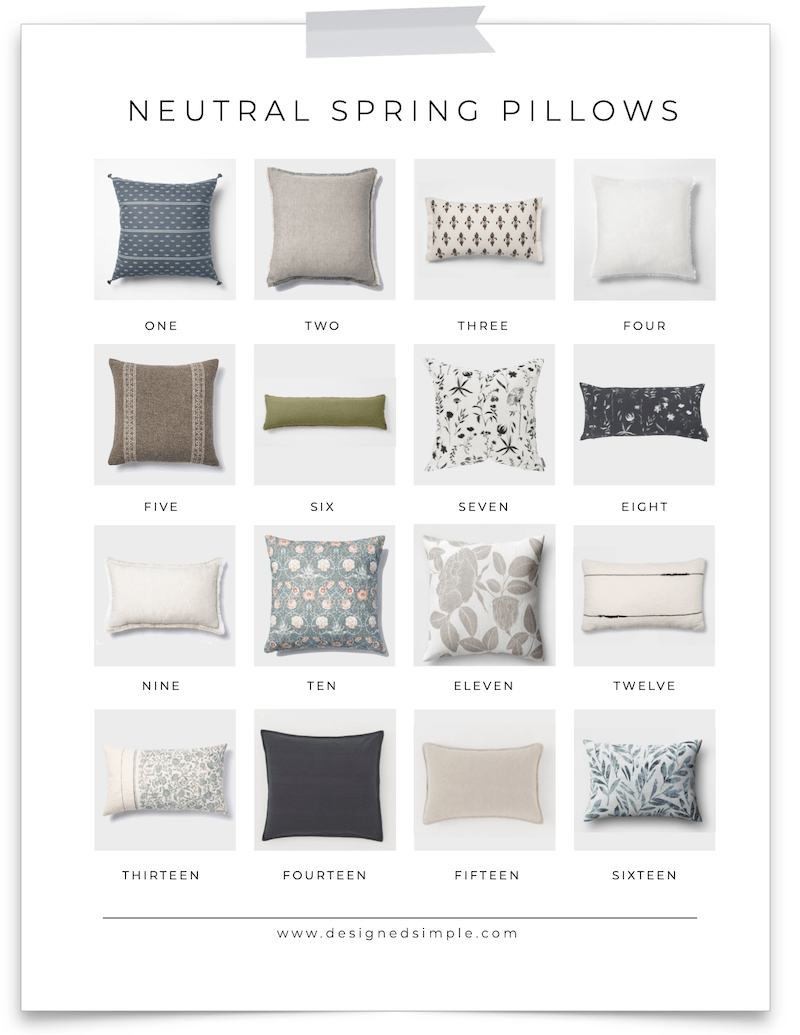 Florals, stripes, solids, and textured - sharing my favorite neutral spring pillows and combinations to decorate this season! | Designed Simple | designedsimple.com