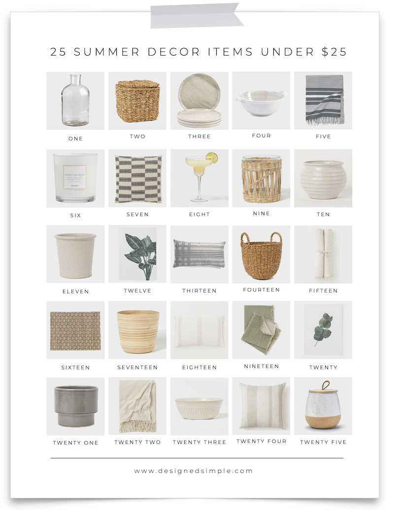 It's summertime and the living is easy. I found 25 summer decor items under $25 - perfect for a coffee table, bookshelf, or dining al fresco. | Designed Simple | designedsimple.com