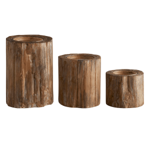 SHOP NOW - Add to your decor with this unique bark pillar candleholder. Made to look like tree bark, it's great for fall or holidays. | Designed Simple