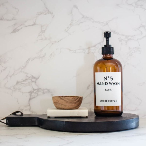 SHOP NOW! Amber glass hand wash bottle with simple label. Just add your favorite soap! Easy to refill & adds style to your kitchen or bath.  Designed Simple