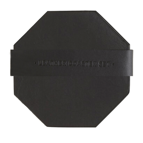 SHOP NOW - Keep your tabletops & counters clear of drink rings with these black leather coasters. Perfect gift for new homeowner or hostess!