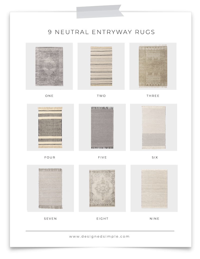 Sharing my favorite neutral entryway rugs and a few tips on how to choose the right size and shape for your space! | Designed Simple | designedsimple.com