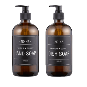 SHOP NOW - Add style to your kitchen with this amber glass soap bottle set. Each bottle features a simple & sophisticated label. | Designed Simple