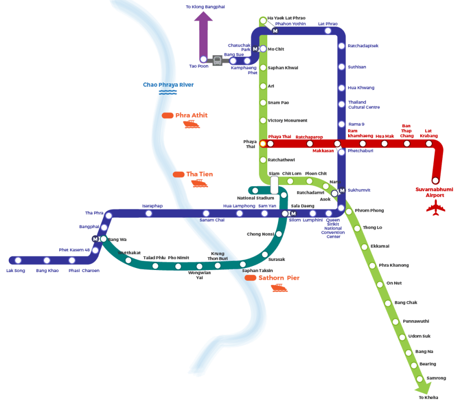 BTS map transport Bangkok, Thailanda