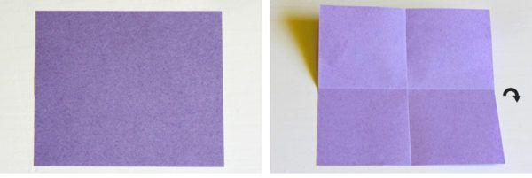 Tee neliö violetti paperi