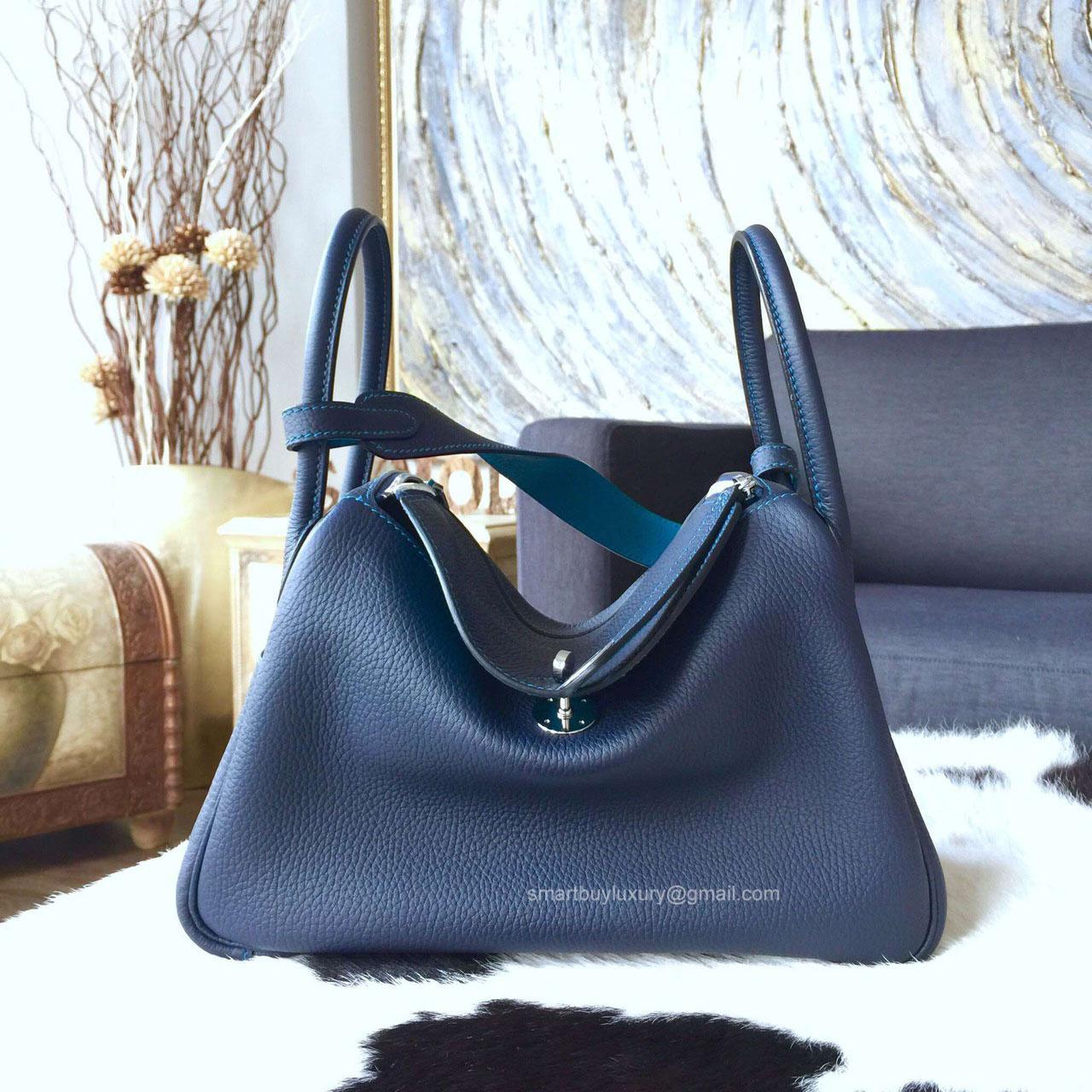 Hermes Lindy 26 in Blue Saphir Bi-color Clemence Leather Handstitched