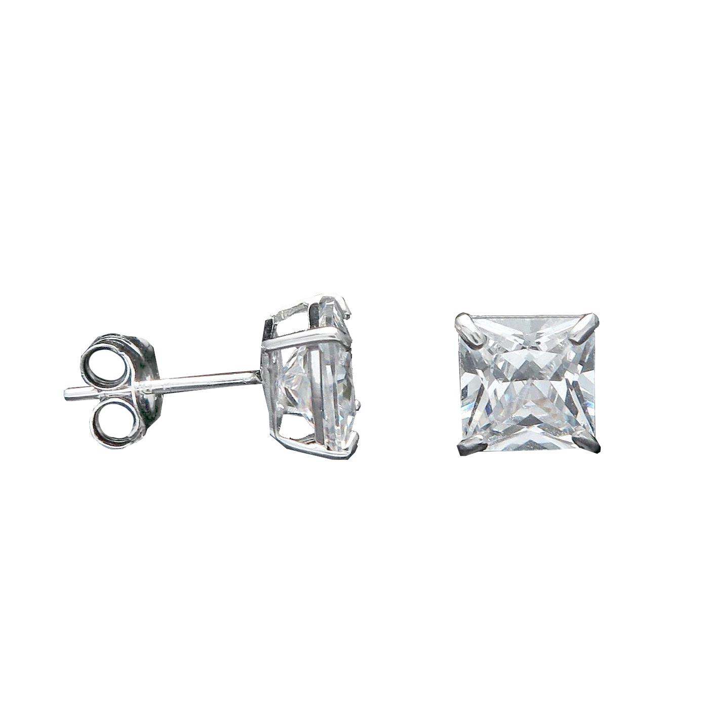 14k Gold Princess Cut Cz Stud Earrings In Basket Setting