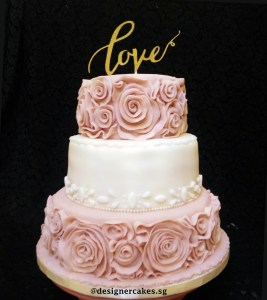 3 Tier - Pink and White, Wedding Cake with Ruffles Flowers, Love Cake Topper.