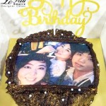 Customized Photo Chocolate Cake with Happy Birthday Cake Topper.
