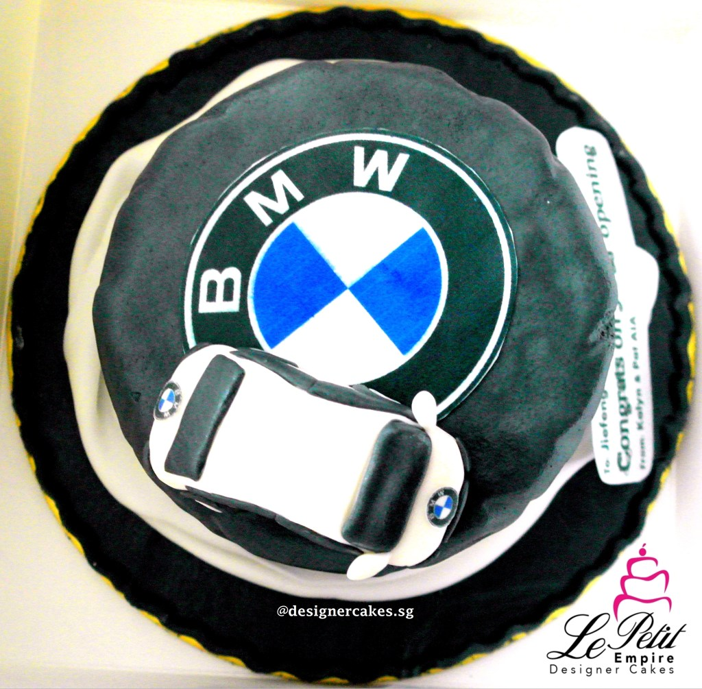 Cutomized Opening Cake, Tyre shaped cake with BMW Car on Top. (2)