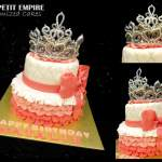 Customized 2 tier Fondant Cake + Princess Crown Tiara, Pink, White Glitter, Silver Cake