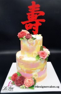 Flower Cakes - 2 Tier marbled cream cake with butter cream flowers and longevity cake topper. Korean butter cream flowers. Singapore Customized Cakes.