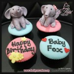 Customized Fondant Cupcakes with 3D Elephant Figurine