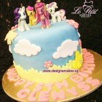 Blue Cake with Clouds & Flowers. + My Little Pony Toy Toppers.
