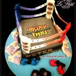 Boxing Ring Cake with Boxing Gloves & Money.