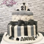 2 Tier Customized Fondant Cake, Tiara Crown, 21st Birthday, Black, White, Grey Stripes, Quilted Designs