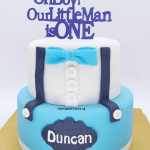 2 Tier, Baby Boy 1st Birthday / Baby Shower Design Cake. Baby Blue Bow Tie.