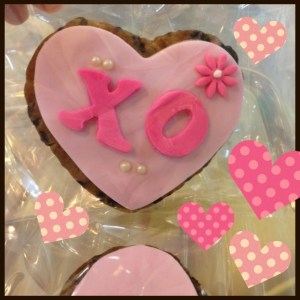 xoxo, hugs and kisses heart shaped cookie