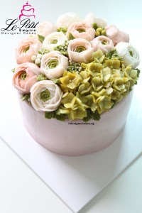 Korean Butter Cream Flower Cake - Blossom Style, Ranunculus Rose and Hydrangea.