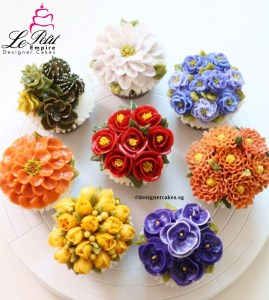 Korean Butter Cream Flower Cup Cake - Camellia, Freesia, Zinnia, Stock, Hellebore, Succulents, Chrysanthemum and Orchids