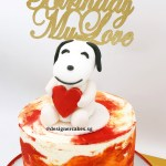Marbled Red, Orange Cream Cake with Doggy Holding Heart Sugar Topper and Customized Wording Cake Topper. 狗狗奶油蛋糕。