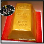 Money Cake - 3D Fine Gold bar fondant cake. Singapore Customized Cakes