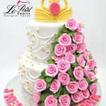 Sugar Flower Cakes - 2 Tier Sugar Rose Cake with Tiara on top.