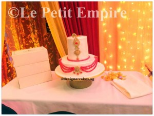 Wedding Cake - 2 Tier, Indian Wedding, Gold Jewellery Fondant Cake.