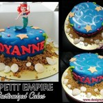 customized fondant sea themed with sand * seashells cake + Princess Ariel Toy Topper