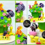 3D Giant Cupcakes Customized Cake + Giraffe, Cow, Pig, Hippo, Lion, Elephant + Panda
