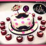 Moustache + Polka Dots Customized Fondant Cake