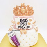 Princess / Queen Tiara / Crown Rose Gold 2 Tier Customized Designer Fondant Cake With Glitter Pink Microphone Singer
