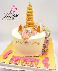 Unicorn Cream Cake, closed eyes.