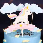 Cake Decorating Supplies - Happy Birthday Unicorn and Clouds Set