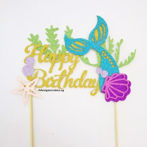 Mermaid Tail Happy Birthday Cake Topper - Tail, Seaweed, Shell, Starfish (Glitter Gold & Colors) - Cake Decorating Supplies - Cake Toppers