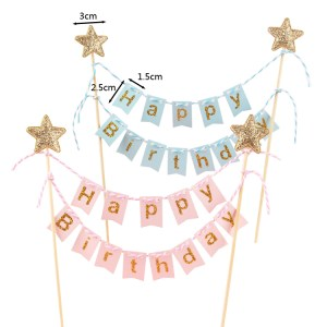 Cake Decorating Supplies - Gold Star Banner Cake Toppers - Pink Gold / Blue Gold