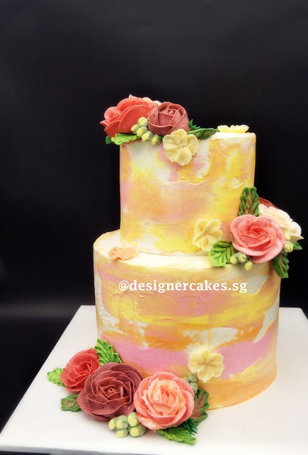 (Tiered) Marbled Floral Cake