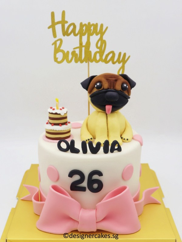 Pug's Party Themed Fondant Cake